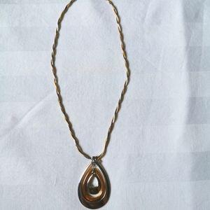Aldo Jewelry - EUC Aldo Twisted Silver & Gold Teardrop Necklace